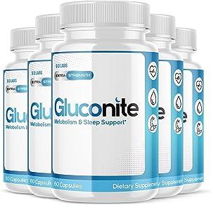 Gluconite Pills Blood Sugar Support Metabilezum Sleep for Diabetics Gluconate Iron Extra Strength Potassium Zinc Supplement (5 Pack)