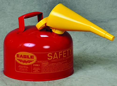 """Eagle UI-25-FS Type I Metal Safety Can with F-15 Funnel, Flammables, 11-1/4"""" Width x 10"""" Depth, 2-1/2 Gallon Capacity..."""