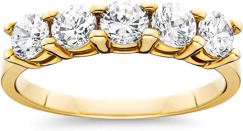 1ct Five Stone Diamond Ring 14K Yellow Gold