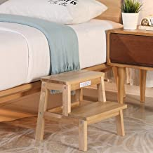 HOUCHICS 2 Steps Stool Wood Countertops Stool, Multipurpose Stepladder Stool for Bedroom/Bathroom/Toilet/Kitchen etc. with Safety Non-Slip Pads (Natural)