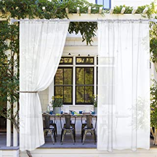 MIULEE 2 Pieces Rod Pocket White Outdoor Sheer Curtain Drape for Patio, Dreamy Gazebo Curtain Voile Privacy Panel for Porc...