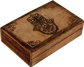 SAAGA Multipurpose Decorative Wooden Jewelry Trinket Holder Keepsake Storage Box with Hamsa Carving/Handmade : 8x5.5x2.5 inches (LxBxH)