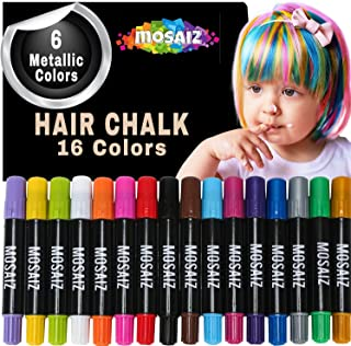 Hair Chalk for Girls and Boys 16 Colors with 6 Metallic For Extra Shimmer, Washable Temporary Hair Color For Kids, Great Birthday Gift For Girls Age 4 5 6 7 8 9 10 11, Face Paint Party, Girl Gifts