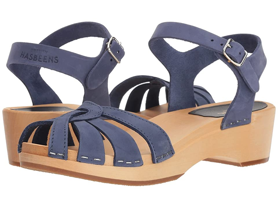 Swedish Hasbeens Cross Strap Debutant (Blue Nubuck) Women