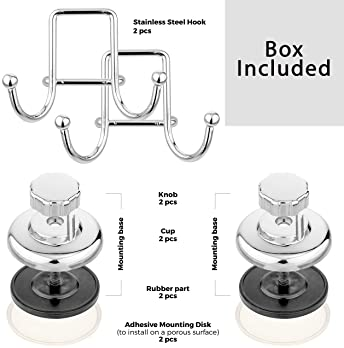HASKO accessories - Powerful Vacuum Suction Cup Hook Holder - Organizer for Towel, Bathrobe and Loofah - Strong Stain...