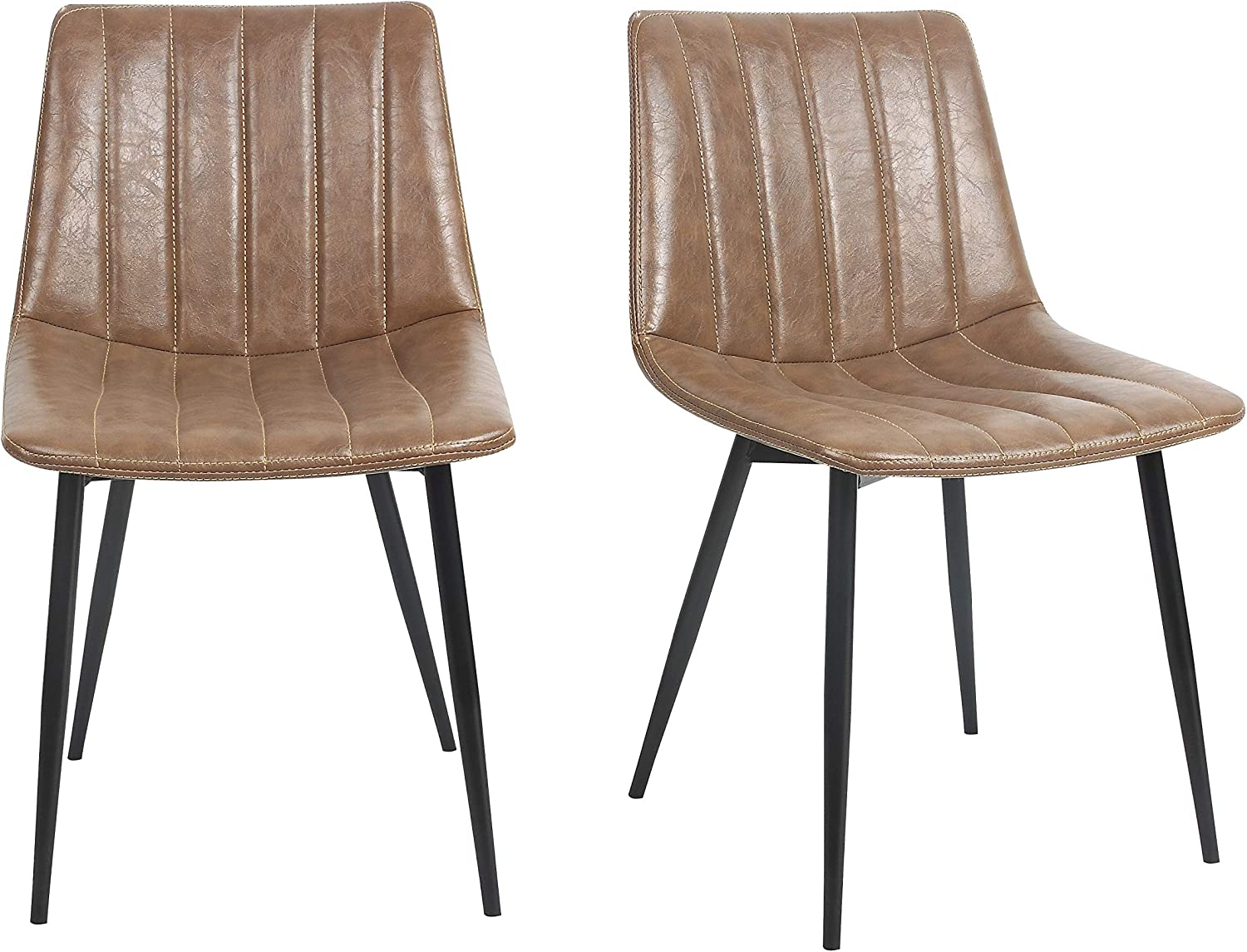 ViscoLogic LUXUS Eames Style Leatherette Upholstered Side Dining Chairs with Metal Legs (2, Alex Brown)