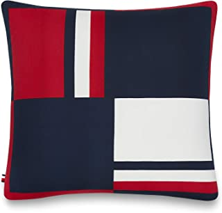 Best Tommy Hilfiger Global Stripe Decorative Pillow, 20x20 inch, Red Reviews