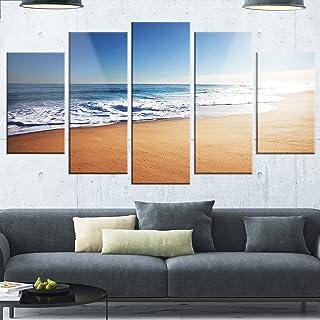 Designart Calm Blue Beach under Bright Sun-Seashore Canvas Metal Wall Art, 60x32-5 Panels Diamond Shape