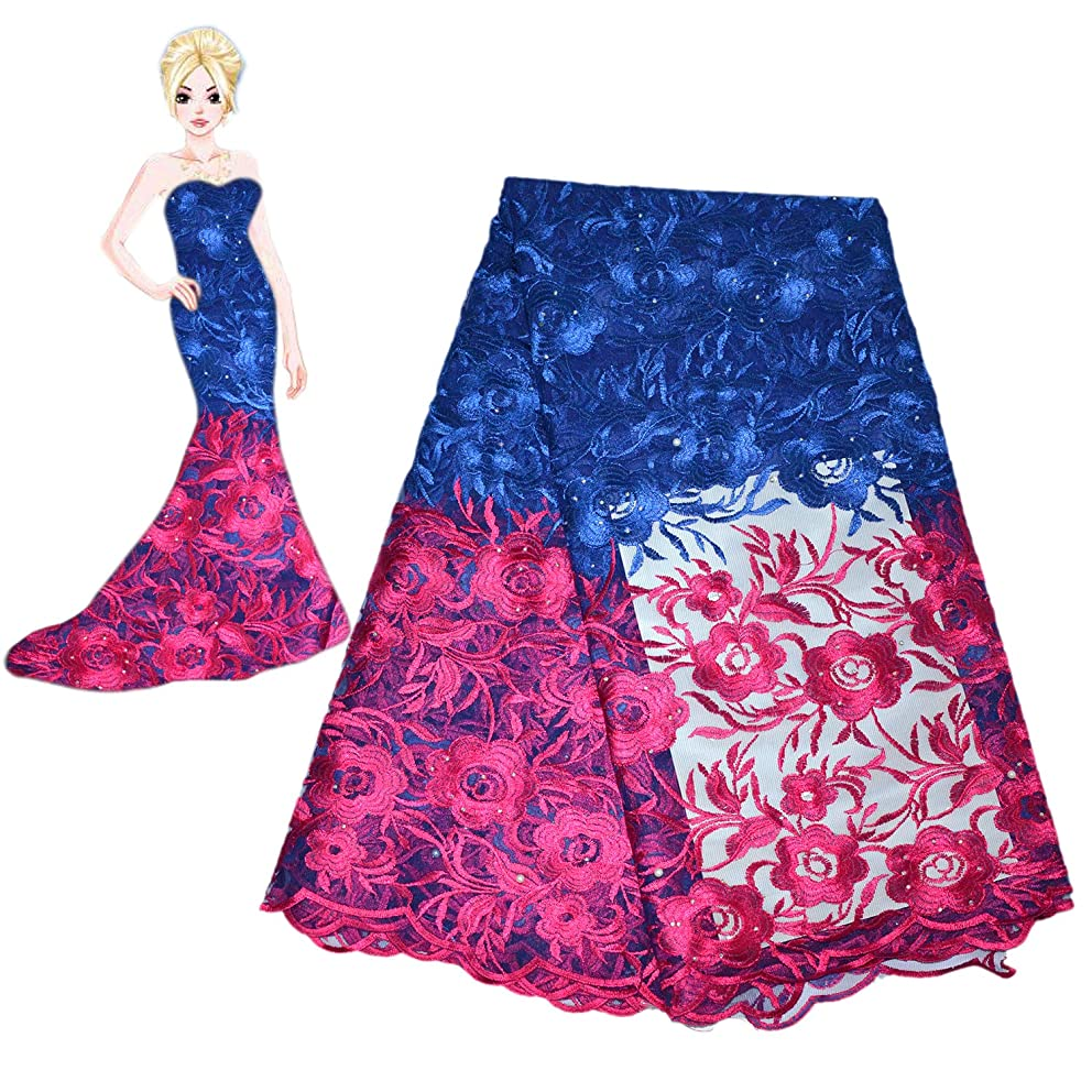 KENLACE 2018 Latest French Net Lace Fabric African Lace Fabric with Embroidery Mesh Tulle Lace Fabric Nigerian Lace (Blue)