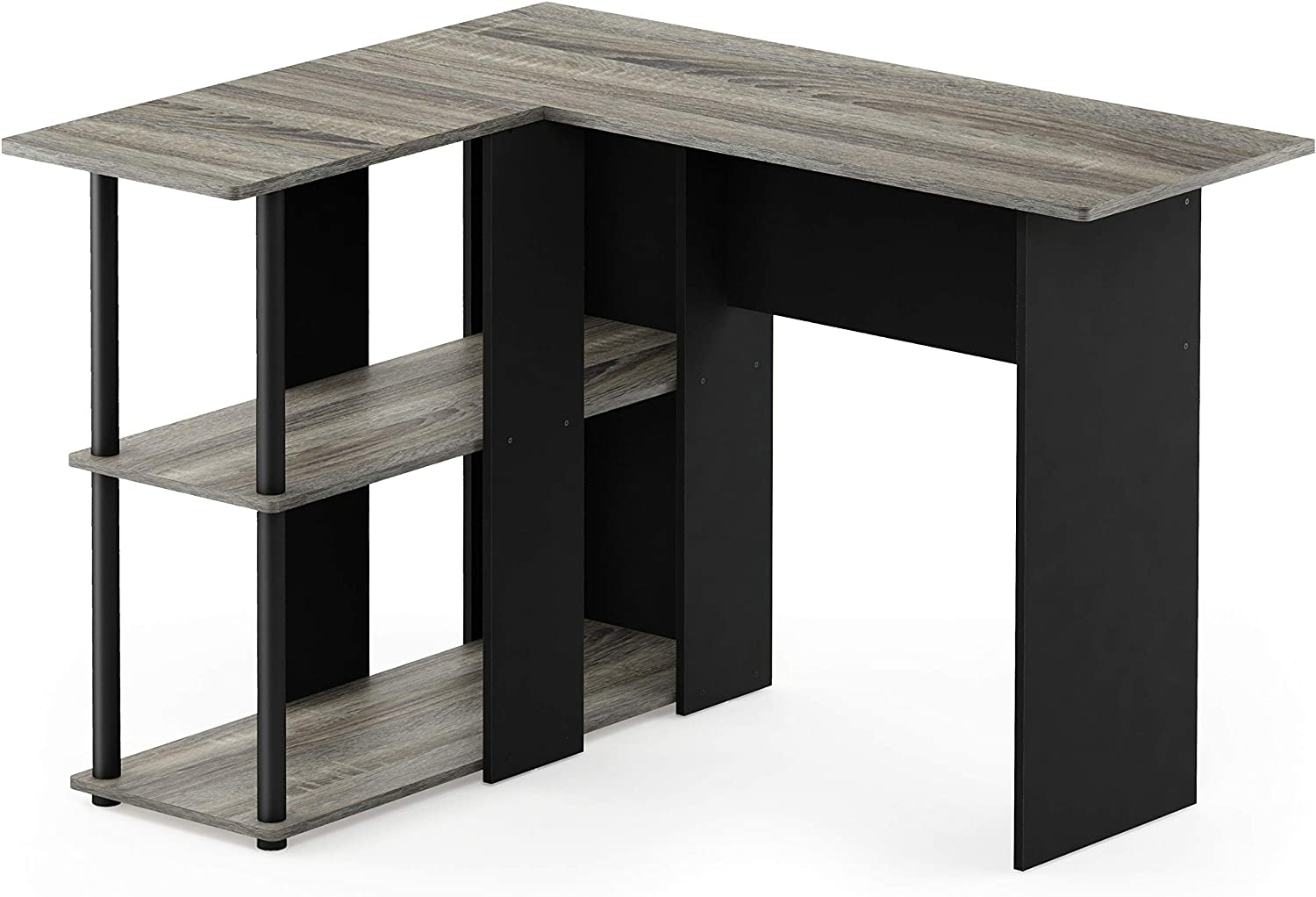Furinno 17092GYW BK Abbott L-Shape Desk with Bookshelf, French Oak Grey Black