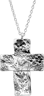 Dropmore' Floral Cross Pendant Necklace in Sterling Silver