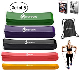 INTENT SPORTS Pull Up Assist Bands – Assistance and Resistance Bands for Pull-Up, Fitness, Body Stretching, Mobility Work, Powerlifting, Weightlifting, Exercises - Heavy Duty - Single/Set - eBook!