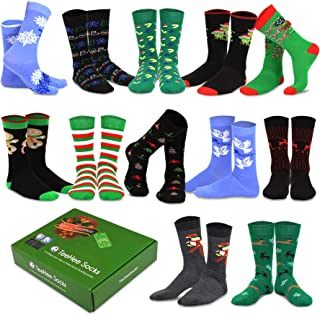 TeeHee Christmas Holiday 12-Pack Gift Socks for Men with Gift Box