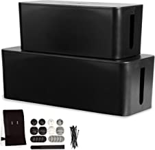 Cable Management Box, 2 Pack - Black Cord Organizer and Hider for Wires, Power Strips, Surge Protectors & More - Includes Cable Sleeve, Hook and Loop Keepers, Zip Ties & Clips