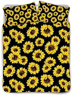 JoyLamoria Stylish Sunflower Print Bedding Women Girls Duvet Cover Set with Pillowcases Luxury Hypoallergenic Microfiber C...