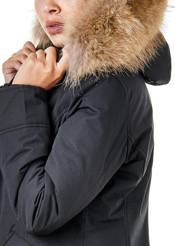 Burocs EFW27 Damen Jacke Parka Mantel Winterjacke Echtfell Kapuze Warm Gefüttert Waschbar Schwarz Navy Khaki Rot Schwarz