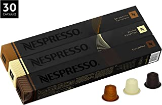 Nespresso Variety Pack OriginalLine Capsules, 30 Count Espresso Pods, Assorted Flavored Medium Roasts, 3 Coffee Flavors Include Vanilio, Ciocattino & Caramelito