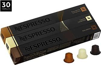Nespresso Variety Pack OriginalLine Capsules, 30 Count Espresso Pods, Assorted Flavored Medium Roasts, 3 Coffee Flavors Include Vanilio, Ciocattino & Caramelito