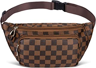 Fashion Fanny Pack for Women, Premium Checkered Waist Belt Bag, Classic Luxury Bag for Travel - PU Leather
