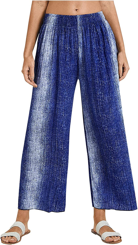 iZZZHH Women's Printed Loose Trousers Bohemian Loose Pants Casual Sports Pants Retro Striped 9/10 Pants