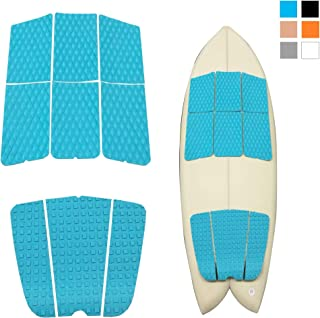 Abahub 9 Piece Surf Deck Traction Pad Premium EVA with Tail Kicker 3M Adhesive for Surfboard Longboard Shortboard Funboard Fish Skimboard Black/Blue/Brown/Gray/White/Orange/Navy Blue