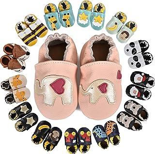 MARITONY Chausson Bebe Garcon Chausson Cuir Bebe Fille Chaussons Bébé Premiers Pas Garçon Fille Chaussures Bébé Cuir Soupl...