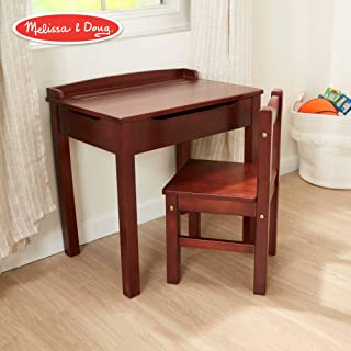"Melissa & Doug Child's Lift-Top Desk & Chair (Kids Furniture, Espresso, 2 Pieces, 16.1"" H x 23.6"" W x 23.2"" L) (Renewed)"