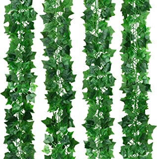 Hawesome 12 Pack 90 Ft Artificial Ivy Garland Fake Greenery Vine Leaves Hanging Green Foliage for Home Wedding Garden Wall...
