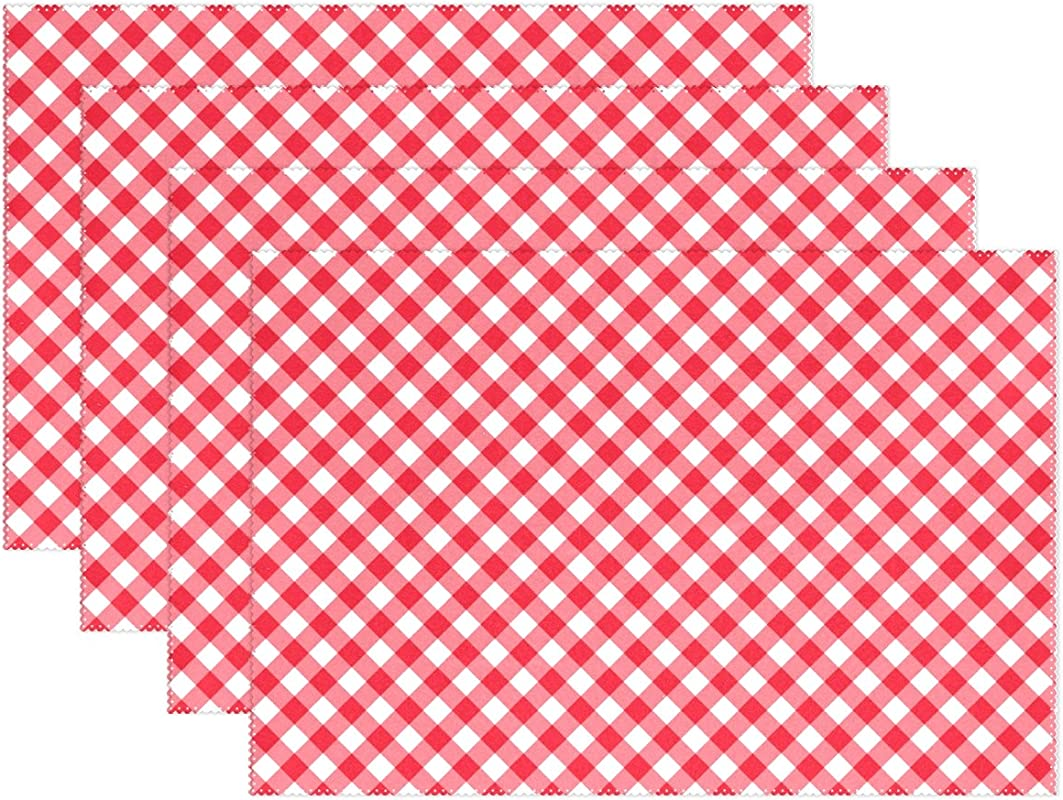My Daily Classic Red Plaid Gingham Checkered Placemats For Dining Table Set Of 4 Heat Resistant Washable Polyester Kitchen Table Mats