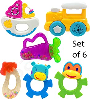 SaleON Big Size 6pcs Baby Toy Colorful Non-Toxic Rattle Bell and Teether Cartoon Toy Plastic Toy Educational Toy for Baby Toddlers Newborn Colorful (1325)