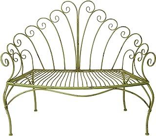 Eisenbank 2 Sitzer im Nostalgie Stil Balkon-Bank Gartenbank Eisen Rosa