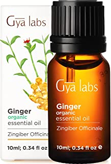 Gya Labs Organic Ginger Essential Oil for Lymphatic Drainage Massage, Swelling and Pain Relief - Great for Hair Growth and...