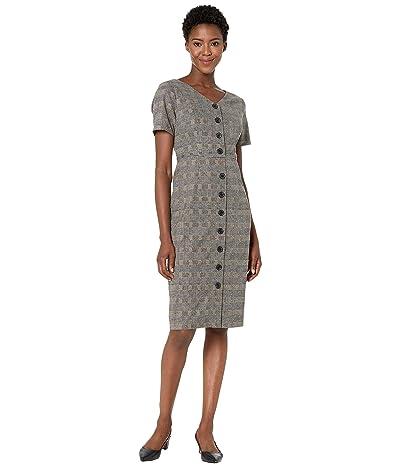 Maggy London Confetti Plaid Button Up Sheath Dress (Tan/Multi) Women