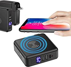 Tronoe Wireless Phone Charger,6700mAh Portable Power Bank Detachable USB Wall Charger Multi-Protection Three Port Power Adapter Charging Block Compatible with iPhone,Samsung,Phone More. (Black)
