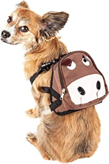 Pet Life 'Mooltese' Large-Pocketed Compartmental Animated Dog Harness Backpack, Medium, Brown