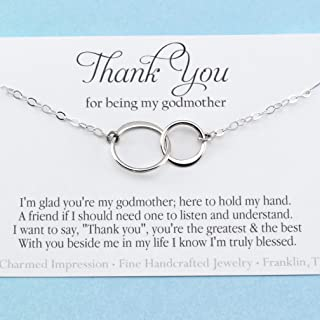 Thank You for Being My Godmother • Infinite Love • Personalized Charm Necklace • Sterling Silver • Faith Jewelry