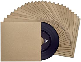 TunePhonik 7-inch Kraft Brown Outer Vinyl Record 45 Jackets with No Center Hole | 25 Pack Made in Los Angeles