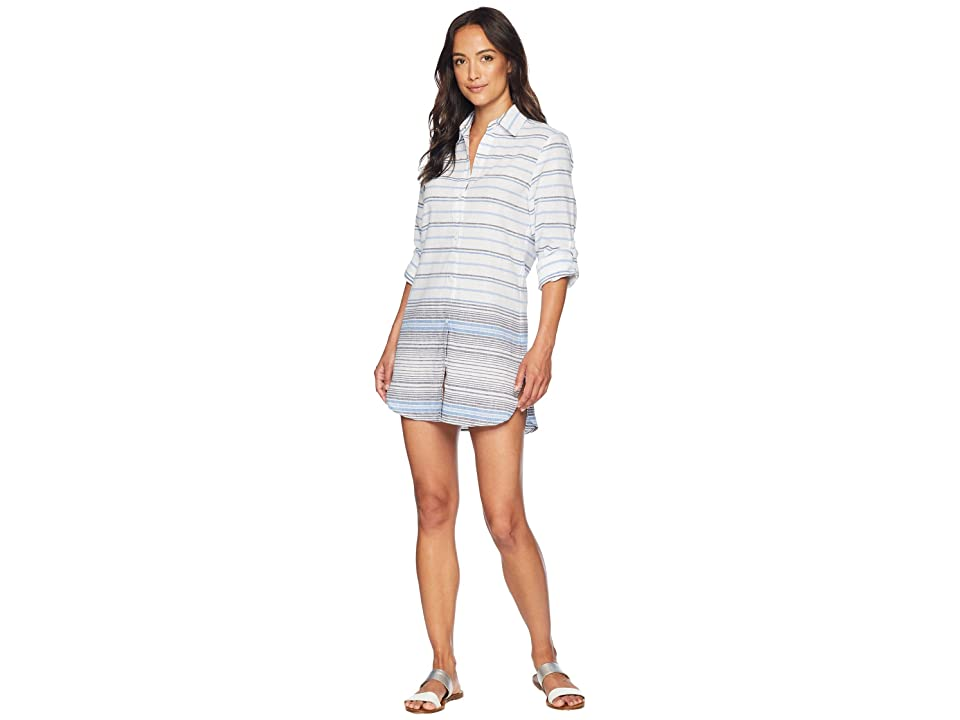 Tommy Bahama Linencotton Boyfriend Shirt Hem Cover-Up (White) Women