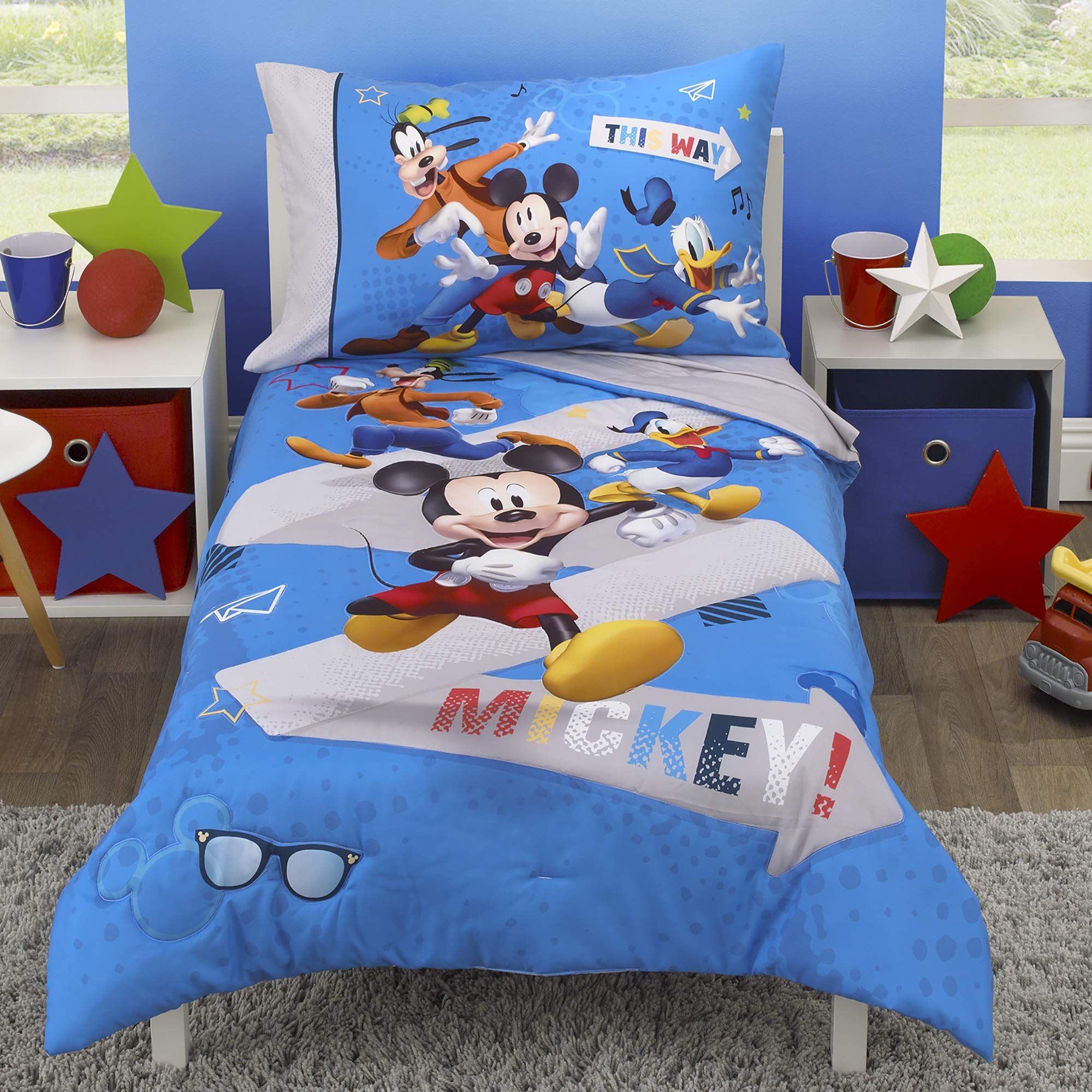 Disney Mickey Mouse and Pals 4 Piece Toddler Bedding Set - Fitted Sheet, Pillow Case, Top Sheet, and Comforter Quilt - Blue