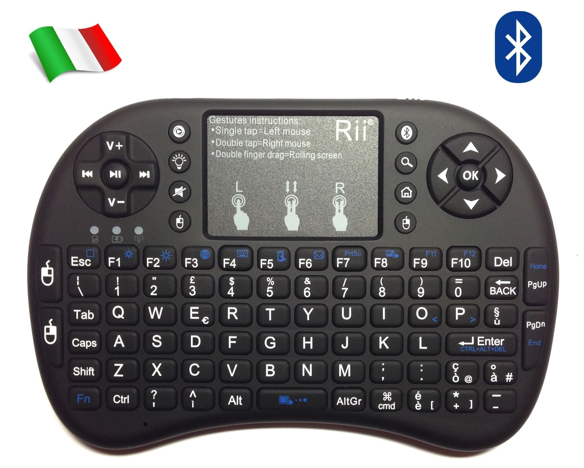 Rii Mini i8+ - Mini teclado inalámbrico (disposición de teclas italiana), retroiluminado, con panel táctil para smart TV, mini PC, HTPC, consola y ordenador. i8+ Bluetooth (NERO): Amazon.es: Informática