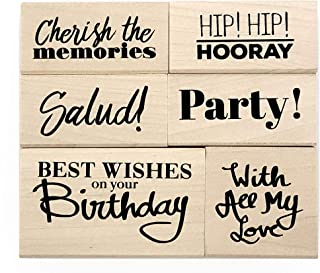 Opia CRAFTS Everyday Sentiment Wood Mounted Rubber Stamp Set for Card Making, Scrapbooking and DIY Crafts - Birthday, Party Invitation, Congratulations, Celebration, Memories, 6 Pieces