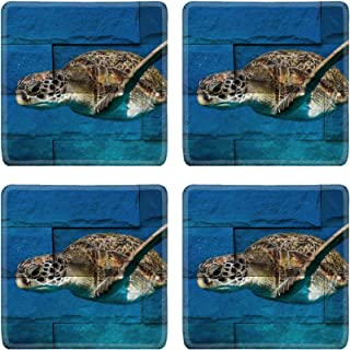 MSD Drink Coasters 4 Piece Set Image ID: 35263884 turlte in Similan island Thailand Mural The stone painting conce