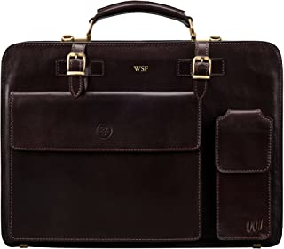 Maxwell Scott Personalized Men's Classic Leather Briefcase - Alanzo Brown