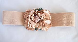 Cinturón color nude elástico con adorno de flor. Envío GRATIS