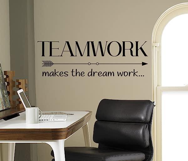 Teamwork Make The Dream Work Wall Decal Motivational Vinyl Sticker Inspirational Quotes Interior Art 14 Nwg