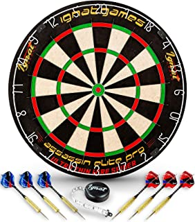 IgnatGames Professional Dart Board Set - Bristle/Sisal Tournament Dartboard with Complete Staple-Free Ultra Thin Wire Spider + 6 Steel Tip Darts + Darts Measuring Tape + Darts Guide