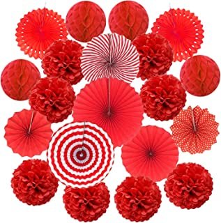 Cocodeko Hanging Paper Fan Set, Tissue Paper Pom Poms Flower Fan and Honeycomb Balls for Birthday Baby Shower Wedding Festival Decorations - Red