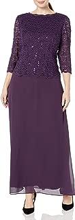 Alex Evenings Women's Plus Size Long Tea-Length Lace Mock Dress
