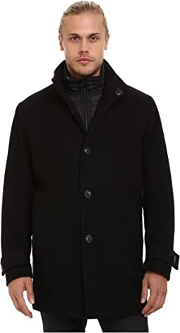 Morningside Pressed Wool Car Coat w/ Removable Quilted Bib