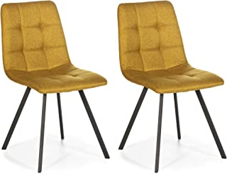 VS Venta-stock Set de 2 sillas Comedor Mila tapizadas Mostaza, certificada por la SGS, 58 cm (Ancho) x 45 cm (Profundo) x 90 cm (Alto)